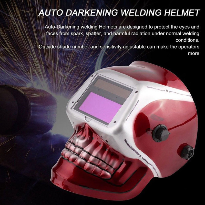 Skull Solar Auto Darkening Electric Welding Mask/Helmet/Welder Cap/Welding Lens Eyes Mask For Plasma Cutting Tool solar auto darkening electric welding helmet mask welder cap welding lens glasses for welding machine plasma cutter