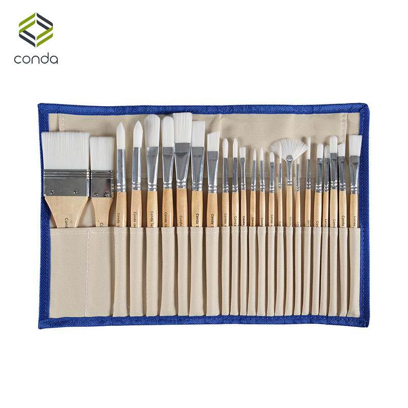 Conda 24 Pcs Chip Paint Brushes Set Professional Synthetic Short Handle w Brush Case Art Supplies