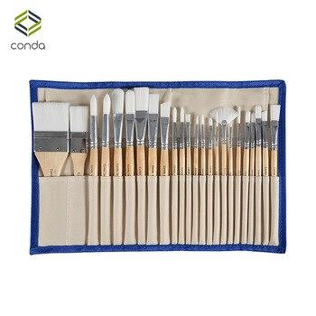 Conda 24 Pcs Chip Pintura Brushes Set Professional Synthetic Curto Handle w/Case Escova Materiais de Arte Aquarela Pintura A Óleo escova