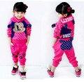 Conjunto sportswear Roupas de inverno Hoodies Tops e calças de Algodão Mickey ternos das meninas/meninas do bebê 2 PCS Terno Roupas casuais outfit