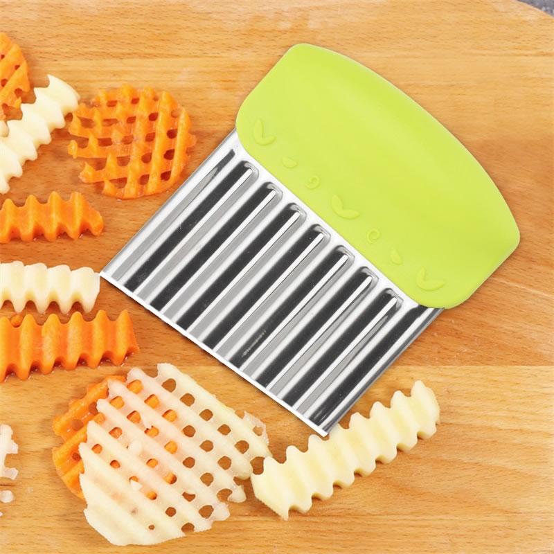QueenTime Wavy French Fries Cutter Stainless Steel Potato Slicer Vegetable Chopper Veggie Slicer Durable Kitchen Gadgets Cutter