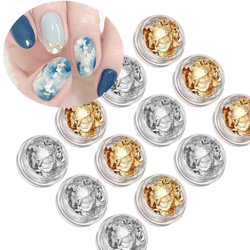 12 Boxes Set Gold Silver Nail Art Foil Flake UV Gel Paillette Paper Aluminium Metallic Nail Foils for Nail Art Design PLB 23 in Stickers Decals from Beauty Health