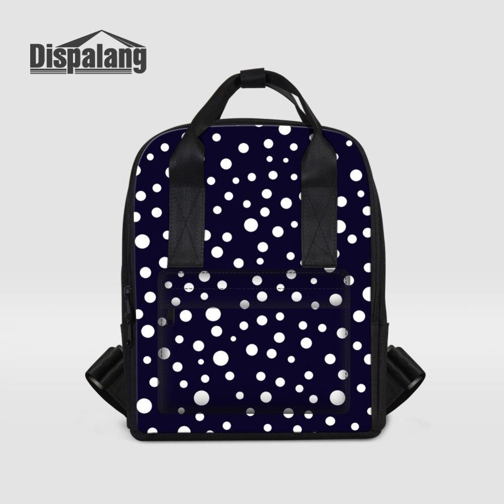 Dispalang Dots Print Fashion Womens Backpacks Large Capacity Lady Casual Shoulder Bag Girls School Bag Stras