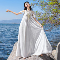 2017 Summer Female Bohemia Beading White Chiffon Strapless Dress Women Summer Elegant Party Dress