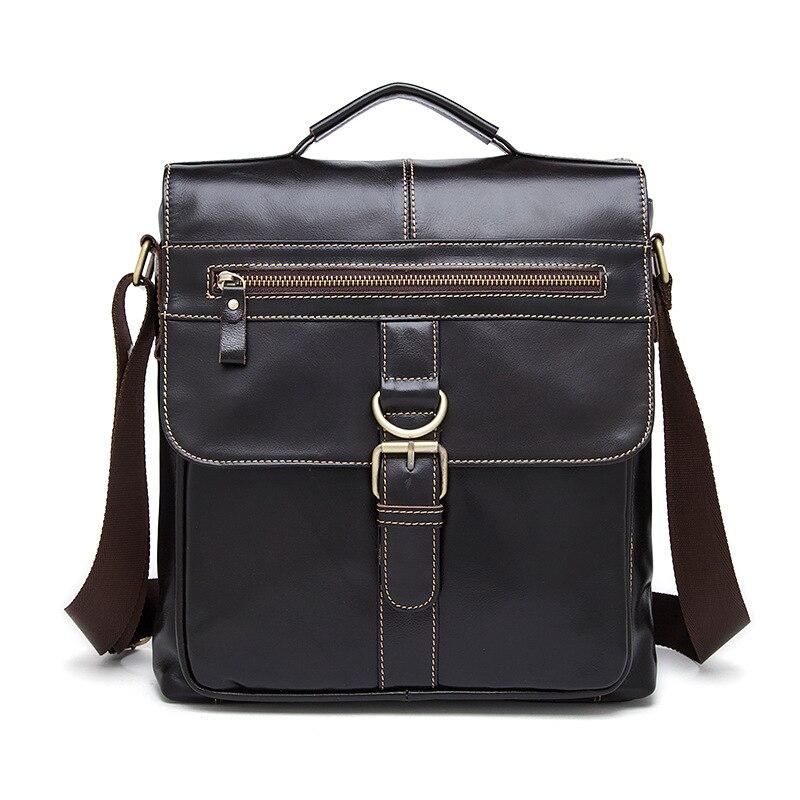 Genuine Leather Mens Messenger Bag Men Large Cover Handbag Casual Male Shoulder Totes for Teenager Boys Travel Flap Small Bag