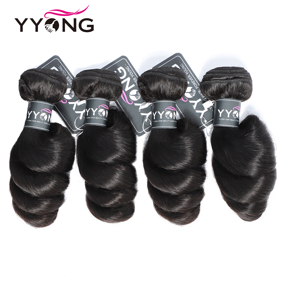 Yyong Hair Loose Wave 4 Bundle Deals Brazilian Hair Extensions 8 26 Inch Can Be Colored