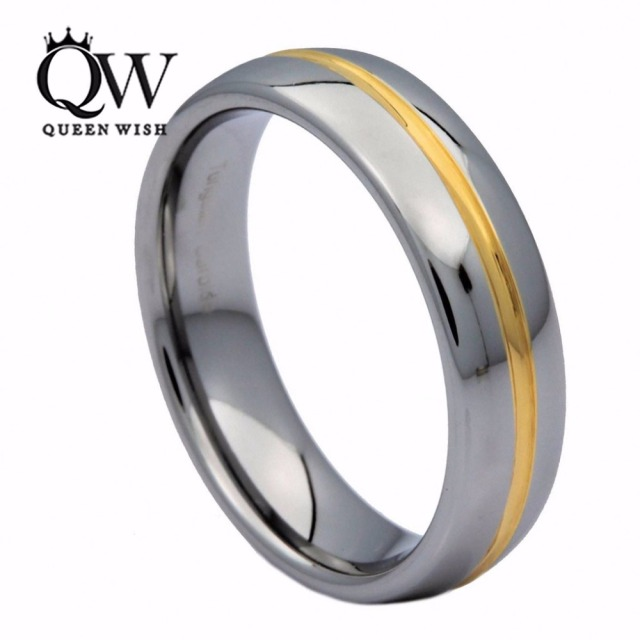 queenwish 6mm white tungsten ring gold color center grooved couples wedding bands ring size 5 - Couples Wedding Rings