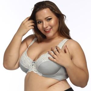Image 3 - Women Underwire Plus Size Bras Full Coverage Non Padded Lace Brassiere Minimizer Underwear 32 52 DDD F FF G H Color Gray BH