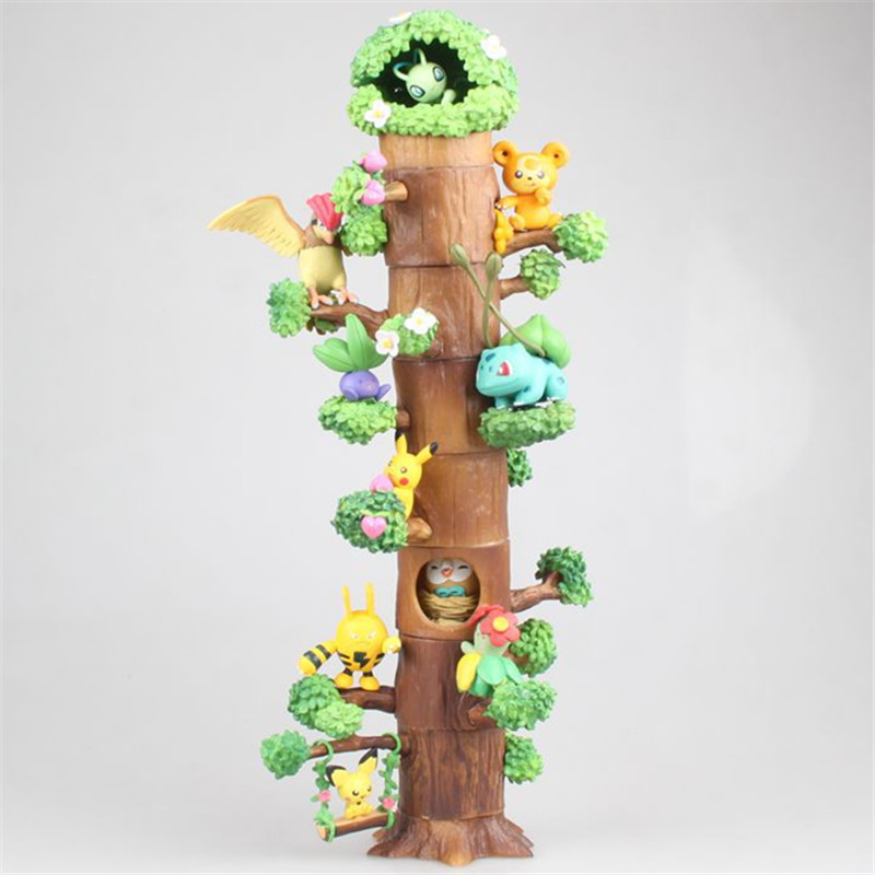 8pcs/set Anime Character Pika Action Figure Toys Kids Gifts Pkm Tree Houses Model Decoration Collection Figure Model