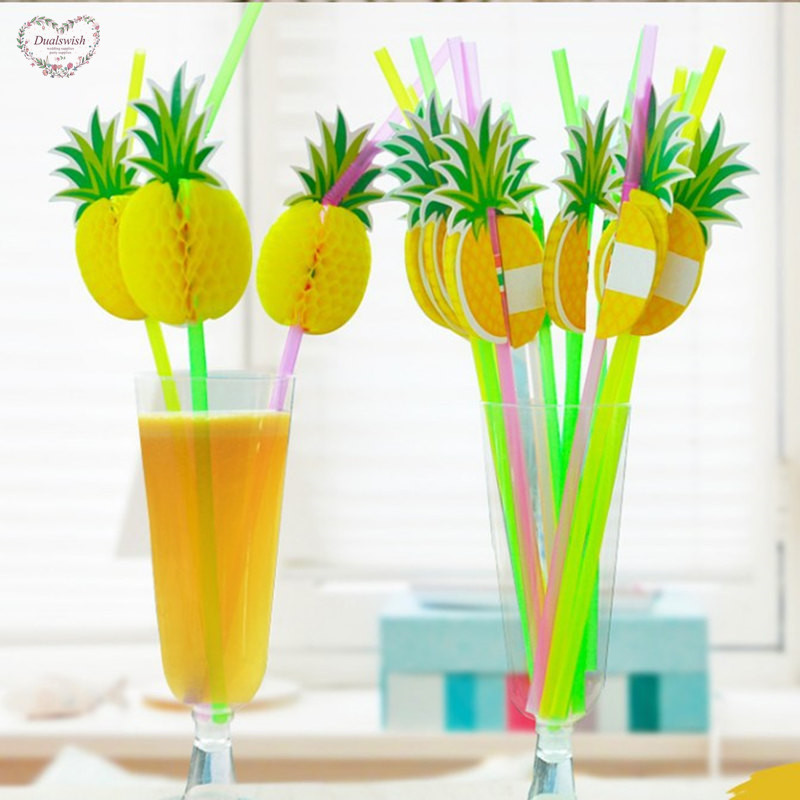 20Pcs/lot Beach Party Pineapple Straws Birthday Party Decorations Kids Disposable Straws Wedding/Party/Birthday/Pool Supplies