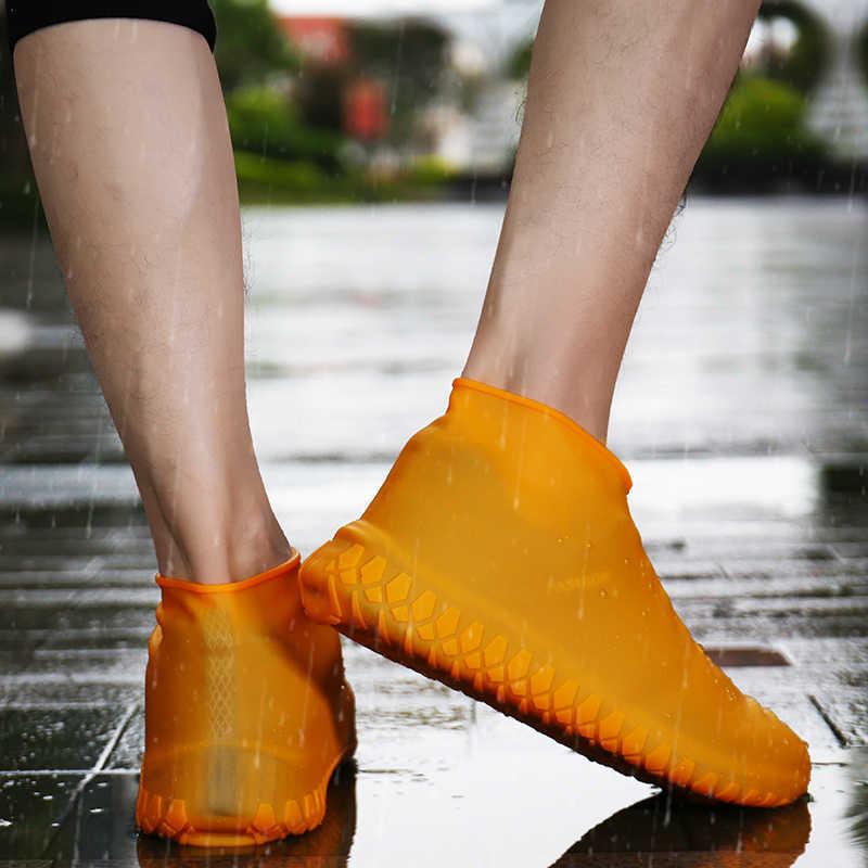 رشاقته غطاء الحذاء هلام السيليكون أحذية المطر مقاوم للماء يغطي قابلة لإعادة الاستخدام المطاط مرونة الجرموق المضادة للانزلاق للأحذية Prot