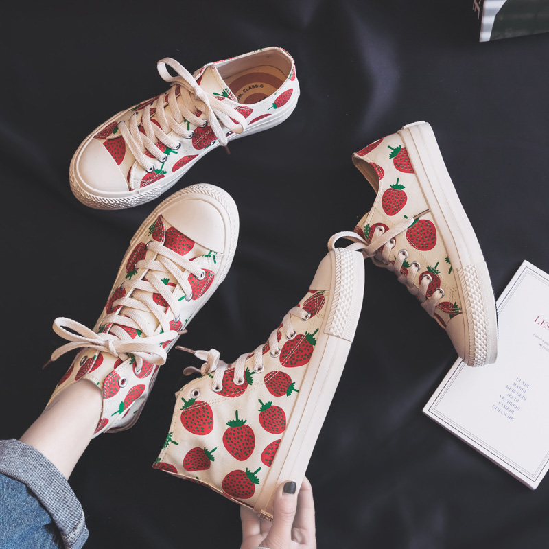 Woman Fashion Shoes 2019 Spring New Fashion Women Canvas Shoes Casual Breathable Cute Strawberry Women Casual Shoes SneakersWoman Fashion Shoes 2019 Spring New Fashion Women Canvas Shoes Casual Breathable Cute Strawberry Women Casual Shoes Sneakers