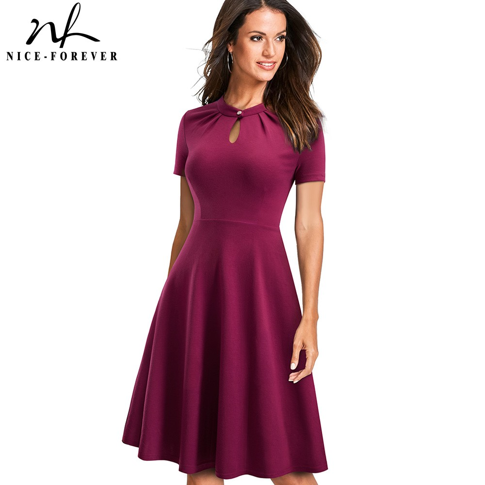 Nice-forever Vintage Retro Pure Color Hollow Out Button Vestidos Business Party Female Flare Women Swing Dress A144