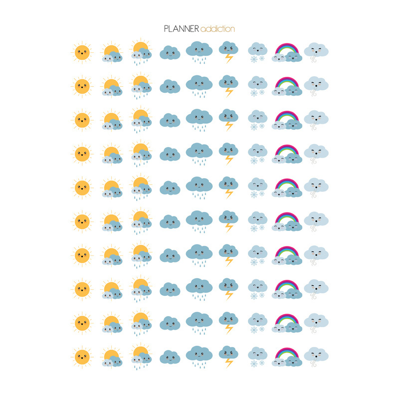 2 Pcs/lot Cute Weather Label Decoration Mohamm Planner Diy Sticker Pack Post It Notebook Bullet Journal Stickers Scrapbooking Handsome Appearance