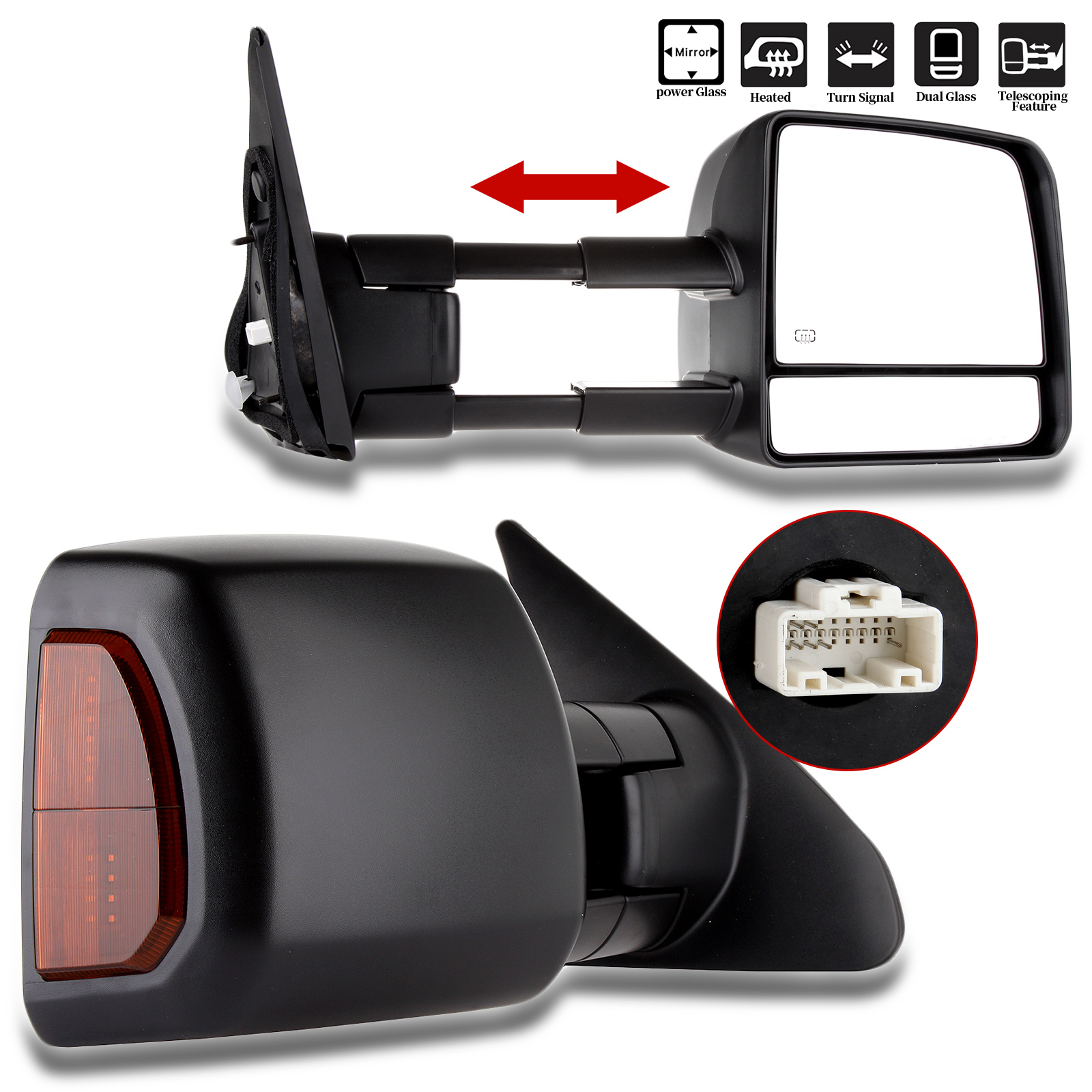 Eccpp power towing heated signal side view mirrors pair left right for 2007 2008 2009 2010 2011 2012 2013 2014 toyota tundra