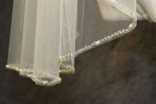 1T Beaded Veil New Design High Quality Bridal Veil  Wedding Veil Beads Beaded Veil In White Ivory Champagne With Metal Comb