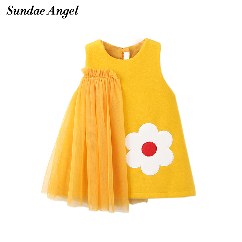 Sundae Angel Girls Dress Princess Autumn Winter Thicken Embroidery Floral Pattern Voile Design Toddler Girl Dresses For 2-7 Year все цены