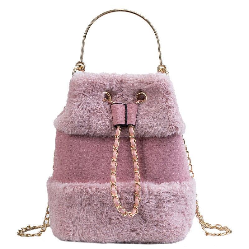 Fashion Women Plush Handbag Draw Chain Bag Soft Fur Messenger Bags Luxury Tassel Plush Shoulder Drawstring Bucket Bag Handbags
