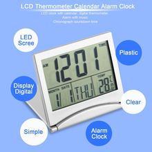 New Digital Lcd Display Thermometer Calendar Alarm Clock Flexible Cover Desk Clock Modern Design(China)