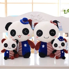 2016 cute couple panda dolls, plush toys, hats, children's holiday gifts, free shipping!