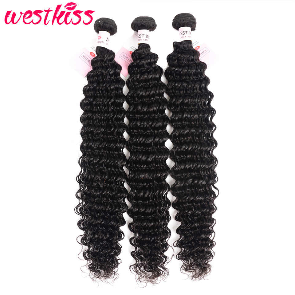 Brazilian Deep Wave Bundles 26 28 30 32 34 36 38 40 Inch Long Bundles Human Hair Extensions 3/4 Bundle Deals West Kiss Remy Hair