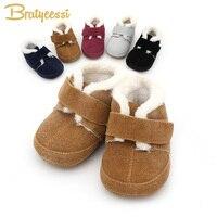 Invierno forro de felpa zapatos de bebé para las muchachas muchachos mocasines del bebé del cuero genuino antideslizante Zapatos Infantiles del Niño 1 par