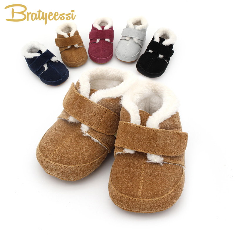 Plush Lining Winter Baby Shoes for Girls Boys Genuine Leather Baby Moccasins Anti Slip Infant Toddler Shoes 1 Pair frc2758