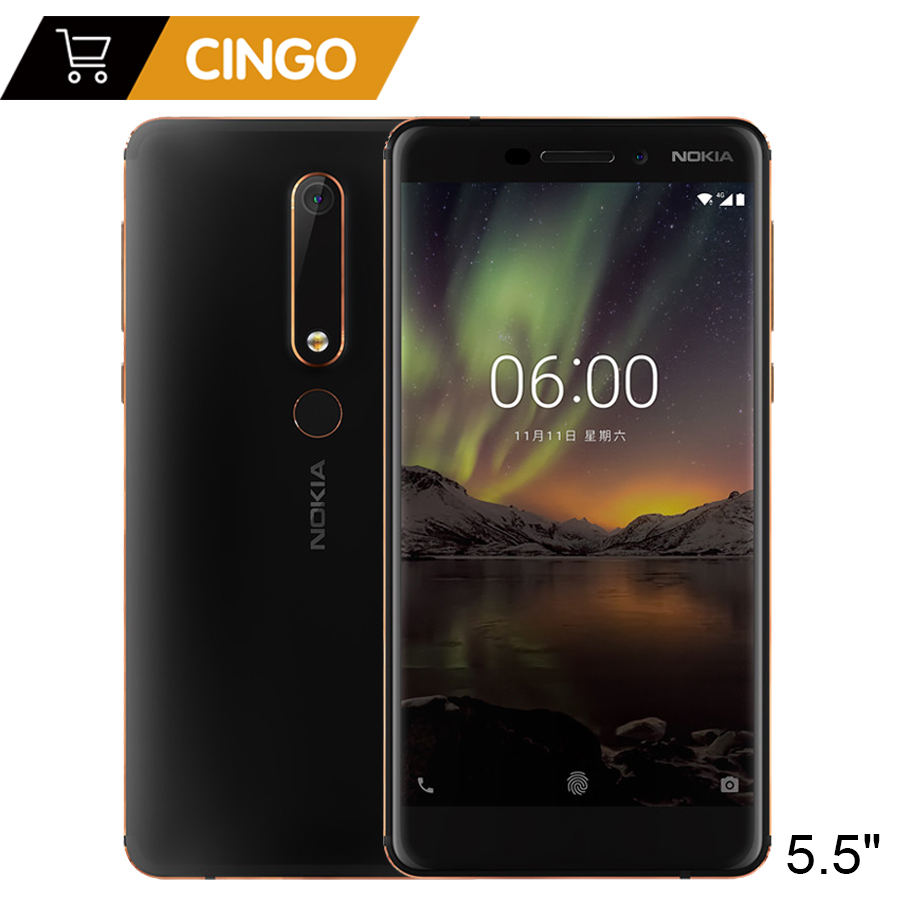 2018 Nokia 6 Second generation 2th TA-1054 4GB 64GB 5.5'' FHD Snapdragon 630 Android 8 Octa core 16.0MP 3000mAh Mobile phone