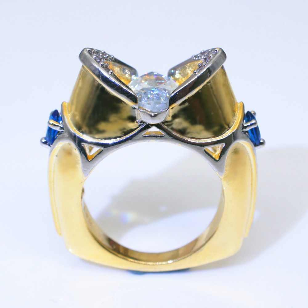 Luxury ชายหญิงใหญ่ CZ แหวนหิน 18KT สีเหลืองทองงานแต่งงานเครื่องประดับสัญญาหมั้นแหวนผู้ชายและผู้หญิง
