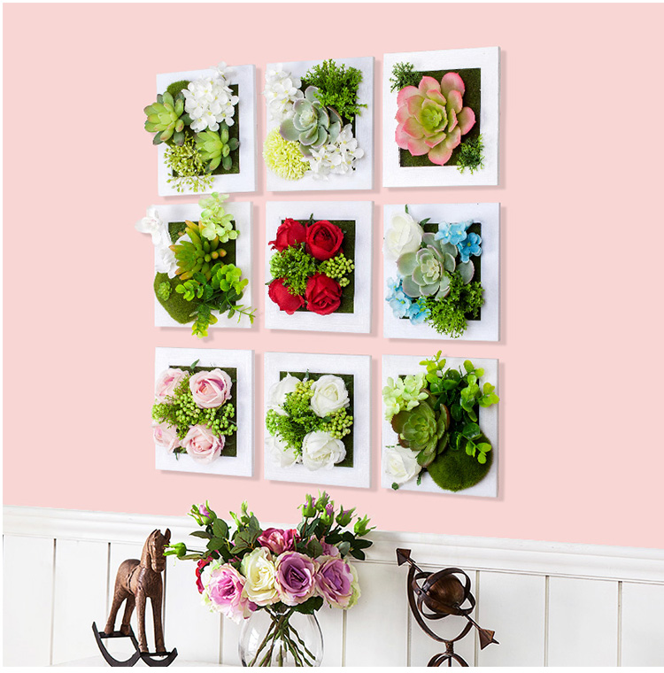 New metope succulent plants plastic photo frame wall for Artificial flowers decoration home