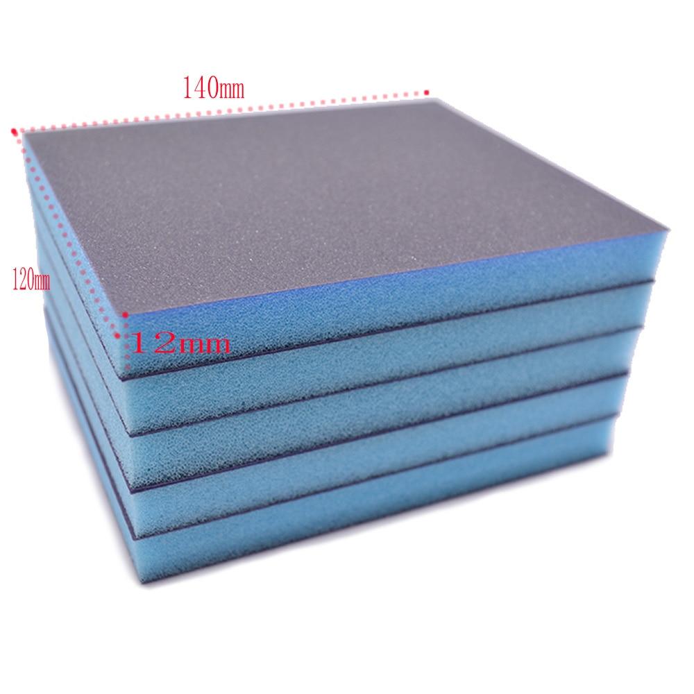 5 pçs grit 120 240 320 600 esponja lixa dupla face ferramentas abrasivas 140x120x12mm lixar esponja bloco polimento
