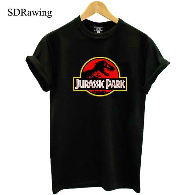 New Jurassic Park Print Cotton T Shirt For Women Tops Casual Brand