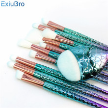 Pro 11PCS Eyeshadow Makeup Brushes Set Unicorn Cosmetics Tools Foundation Concealer Blending Eye Mermaid