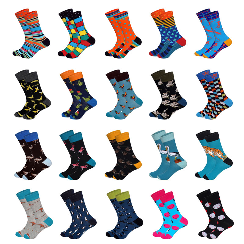 Lionzone 20Pairs/Lot Men Brand Happy Socks Funny British Style Skateboard Hip Hop Streetwear Cotton Pack Socks Calcetines Hombre