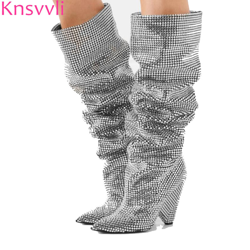 Silver Crystal Bling Bling Knee high Boots Woman Pointy Toe Full Rhinestones shinny Wedding Shoes Sequined