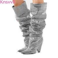 Серебряный Кристалл Bling колена Высокие сапоги женские с острым носком полный стразами Блестящие Свадебные туфли с блестками сапоги до бедр