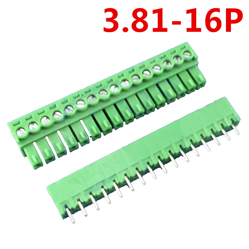 10sets 16 Pin 3.81MM Pitch 300V 10A Universal Plug Type Straight Pin Green Screw Terminal Block Connector Pin header and socket