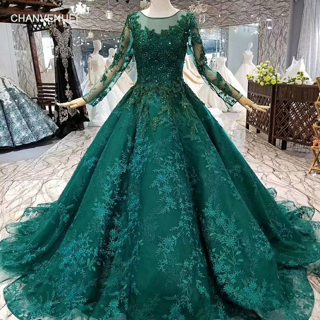 93928ccb98 US $359.03 49% OFF|LS963214 royal green muslim evening dress long tulle  sleeves o neck beads flowers ball gown women occasion dress china  wholesale-in ...