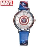Marvel Avengers Captain America Iron Men Hulk Children Hero Watches Blue Red Green PU Band Students