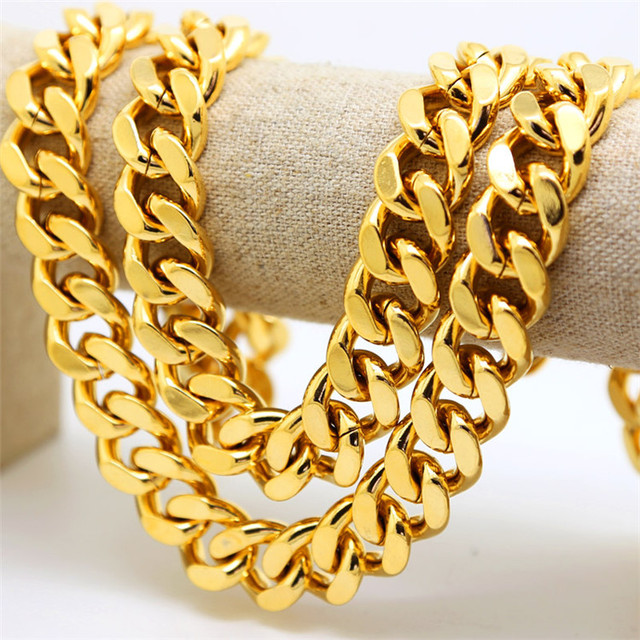 Top fashion Iced Out Cuban Chain Thick Gold Plated Miami Style Necklace 2016 New Arrival   Chian 18mm Wide Necklace
