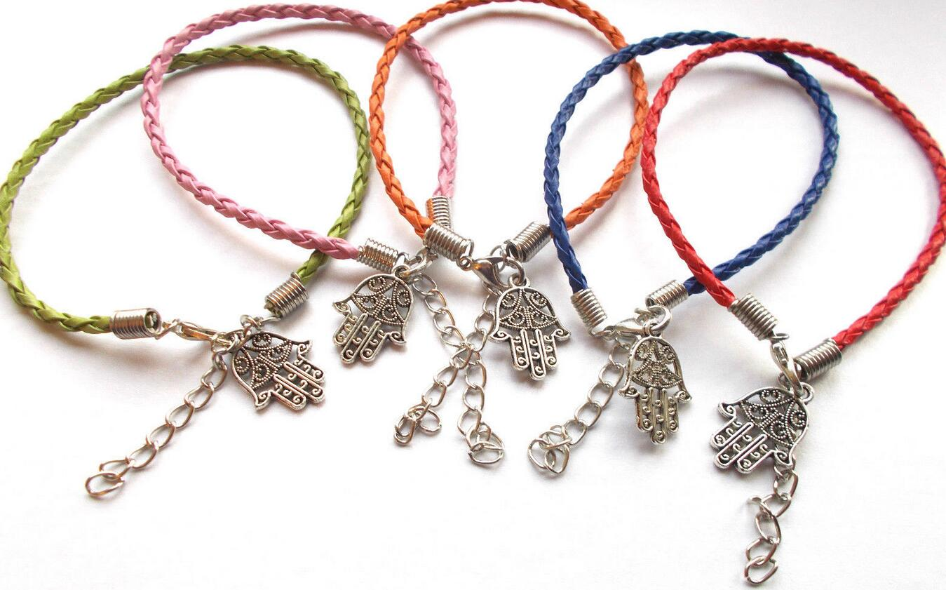 Mixed Vintage Silver Lucky Hamsa Hand Charms Cuff Bracelet Woven Leather Anklets Bracelet Bead Jewelry Women Accessories B539