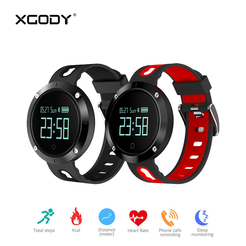 In Stock XGODY DM58 Smart Bracelet Fitness Tracker Blood Pressure Heart Rate Monitor Pedometer Waterproof Wristband Watch BT 4.0