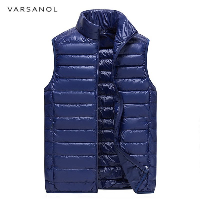 Varsanol Brand Down Jacket Vest Men 90% White Duck Down Parka High Quality Warm Slim Thin Zipper Winter Coats Solid Stand Newest