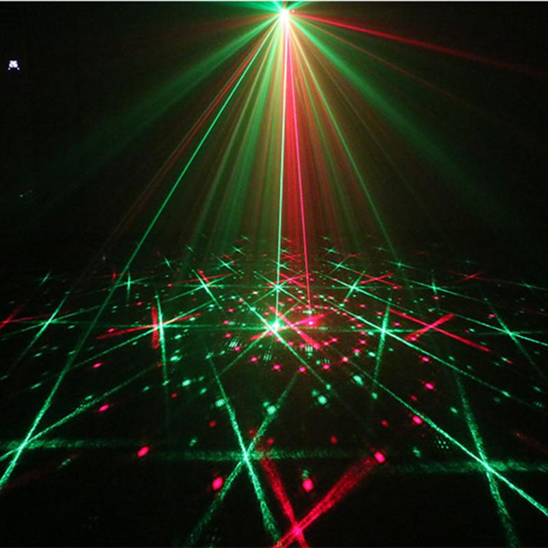 Voice Control RGB Mini Laser Projector Light DJ Disco Party Music Laser Stage Lighting Effect With LED Blue Xmas Lights mini 300mw rgb laser stage lighting effect red green blue mixing dj disco light bar party xmas laser projector show lights