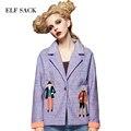 ELF SACK Женщины Марка 2016 Осень Характер Вышивка Пальто Короткие Свободные Куртка женская Повседневная отложным Воротником верхняя одежда