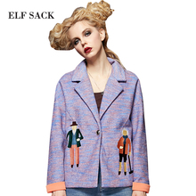 ELF SACK Women Brand 2016 Autumn Character Pattern Embroidery Coat Short Loose Jacket  Women's Casual Turn-down Collar Outerwear
