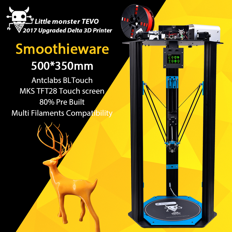 2017 TEVO Pequeño Monstruo Delta Impresora 3D TEVO Deltal cama Grande OpenBuilds Extrusión/Smoothieware/MKS TFT28/Bltouch Impresora 3D
