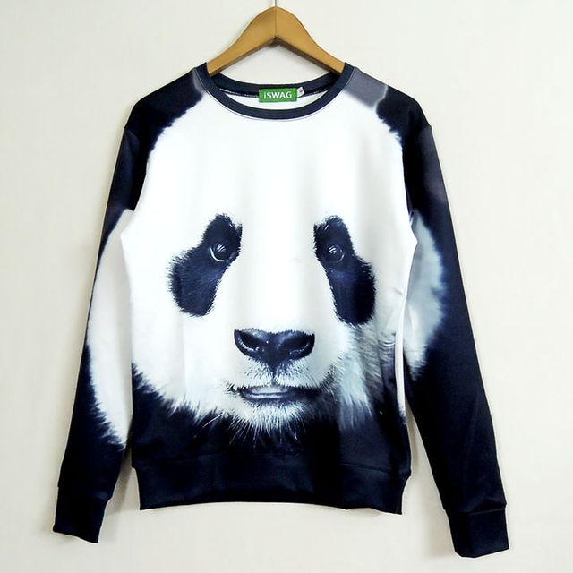 Hot Moda Unissex Mulheres/Homens Camisolas 3D Animal panda Hoodies Suores Cabeça PANDA Camisola Hoodies do Pulôver