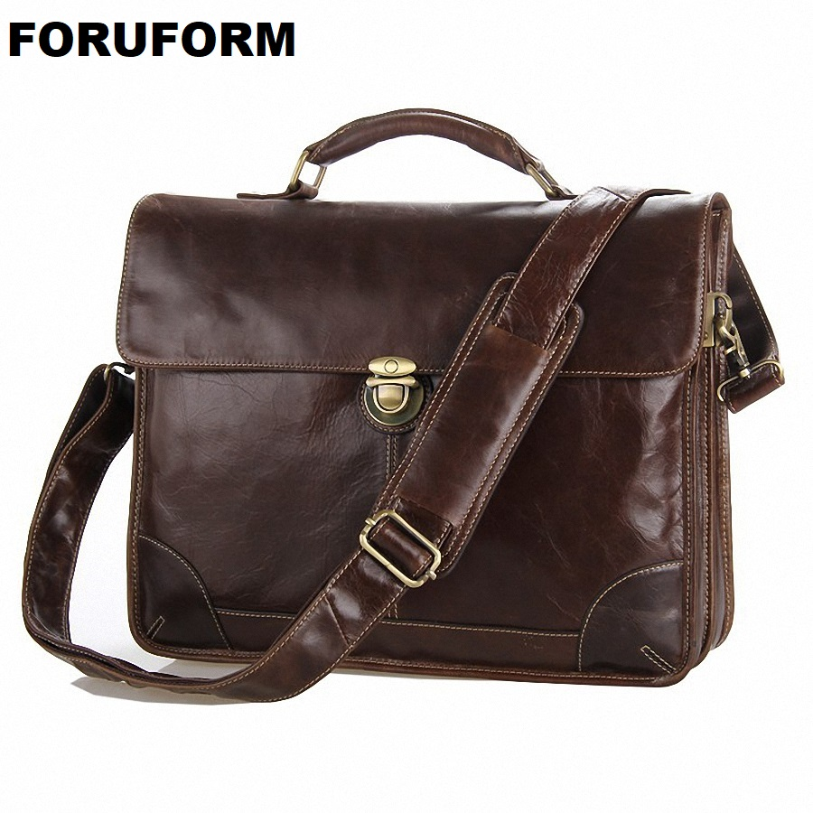 Guaranteed 100% Real Genuine Leather Men's Briefcase Laptop Dispatch Travel Tote Bag Business Bags Factory Wholesale Bags LI-664