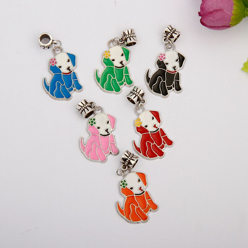 Hot 50pcs Zinc Alloy Drop Glaze Cute Dog Charms Pendant